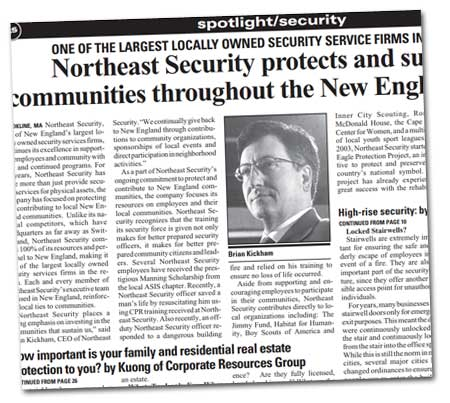 Northeast Security protects and supports communities throughout the New England region