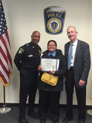 Northeast Security Supervisor Receives Certificate Of Appreciation From The MBTA Transit Police